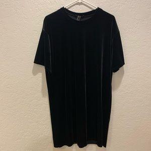 Black velvet tshirt dress